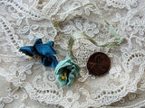 AUTHENTIC Antique French Ribbonwork Pr of Roses Rosette Ribbon Flowers Stamens 20s Flapper Era Floral Gorgeous Gem Colors Something Blue