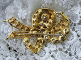 DAZZLING Vintage Brooch Large BOW Statement Pin Vintage Costume Rhinestone Jewelry
