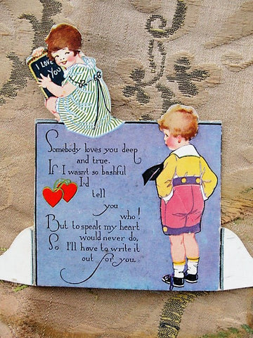 ADORABLE 1920s Valentine Greeting Card Boy and Girl Vintage Valentines Card