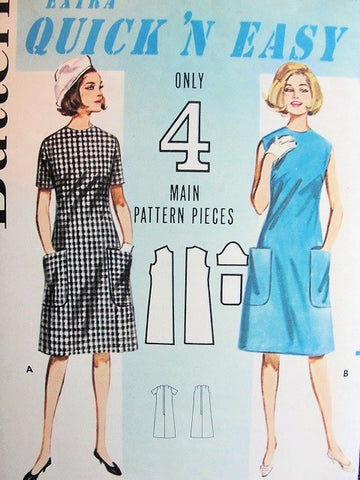 1960s CUTE Quick n Easy A-Line Dress Pattern BUTTERICK 3063 Shift Dress With Pockets Knee Length Dress Office Wear Bust 33 Only 4 Main Pcs Extra Easy Vintage Sewing Pattern