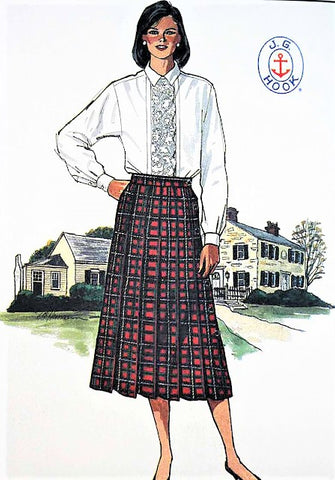 Vintage 1980s Butterick 3400 Skirt and Blouse Pattern Designer J.G. Hook  Pleated Side Button Skirt  Size 12 FACTORY FOLDED Vintage Sewing Pattern