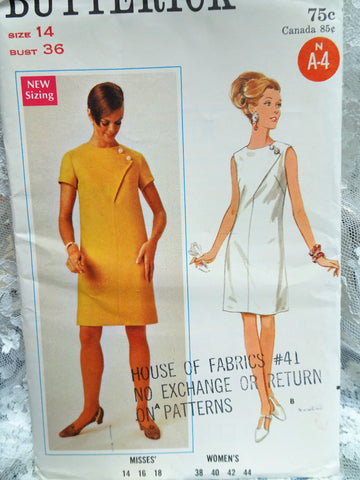 1960s Butterick 4702 Misses Slim Dress Pattern Asymmetric Front Seam Interest Bust 36 Vintage Sewing Pattern UNCUT