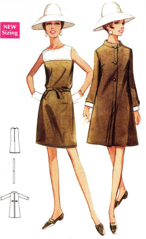 1960s MOD Dress and Coat Pattern BUTTERICK 4741 Slightly A Line Design Day or Dinner Party Ensemble Bust 38 Vintage Sewing Pattern UNCUT