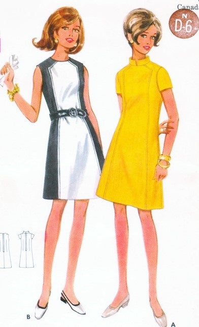 1960s CUTE Mod Dress Pattern BUTTERICK 4795 Two style versions Bust 38 Vintage Sewing Pattern FACTORY FOLDED