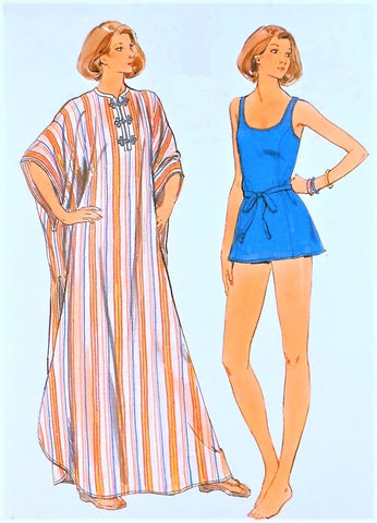 VINTAGE 70s Skirted Swimsuit and Pullover Caftan Pattern BUTTERICK 4863 Evening Length MAXI Lounging Beach Robe Bust 45-47 Vintage Beachwear Sewing Pattern FACTORY FOLDED