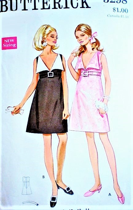 MOD 60s  Glam Cocktail Party Dress Pattern BUTTERICK 5298 Low V Neckline Wide Collar Empire Evening Dress Bust 34 Vintage Sewing Pattern