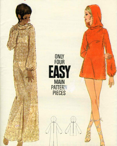 1960s MOD Beach Cover Up Pattern BUTTERICK 5785 Hooded Full Length or Mini Pullover Coverup Beach Dress Lounging Dress Bust 34 Vintage Sewing Pattern UNCUT