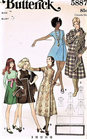 1960s Butterick 5887 Empire Waist A-line Dress Jumper Wrap Bust 32 Vintage Sewing Pattern FACTORY FOLDED
