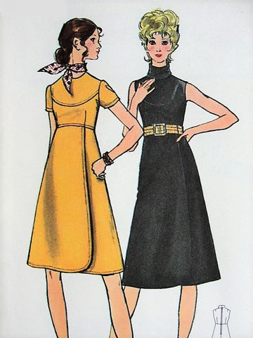 60s MOD High Waisted Dress with Wrap Skirt BUTTERICK 6050  Two Lovely Styles Bust 34 Vintage Sewing Pattern FACTORY FOLDED