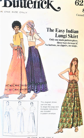 1970s Easy India Inspired Lungi Skirt Pattern BUTTERICK 6211 Bohemian BoHo Style,Maxi Skirt,Beach Wear Easy To Sew and Wear One Size Vintage Sewing Pattern
