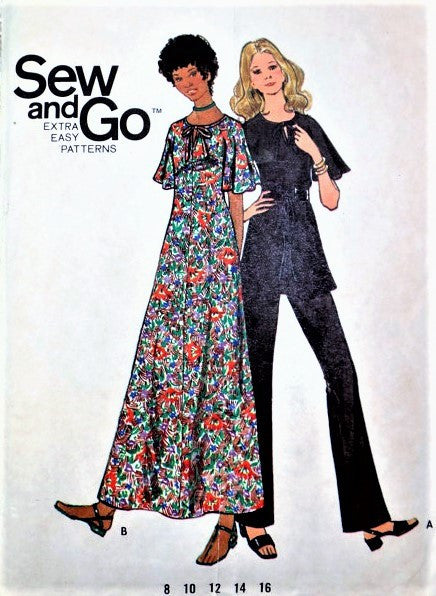 Retro 70s Maxi Dress,Tunic and Pants Pattern BUTTERICK 6305 Flutter Sleeves, Keyhole  Bust 34 Extra EASY Vintage Sewing Pattern UNCUT