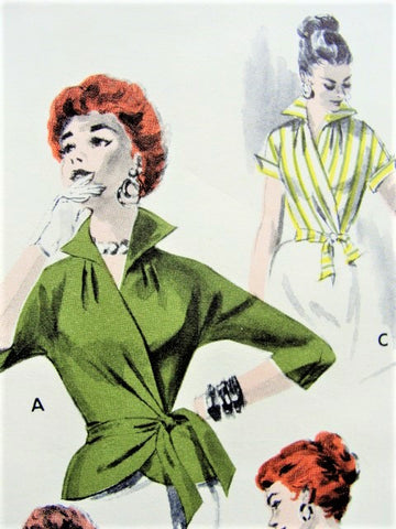 50s FABULOUS Wrap Around Blouse Quick n Easy Pattern BUTTERICK 7640 Wing Collar or V Neckline Side Wrap Overblouse or Tuck In Day or Evening,Very Claire McCardell,Bust 34 Vintage Sewing Pattern