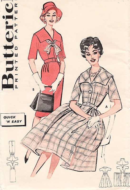 50s ROCKABILLY Slim or Full Skirted Dress Pattern Butterick 9131 Wide Collar Shirtwaist Dress Slim or Full Skirt Bust 32 Vintage Sewing Pattern