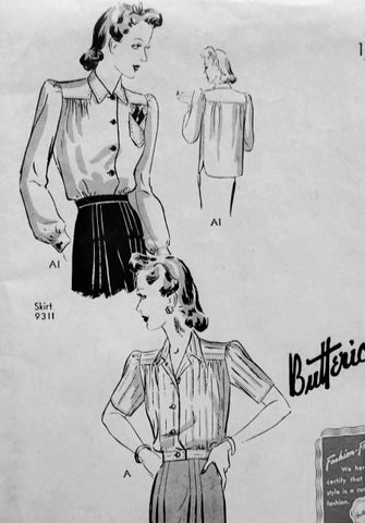 1940s Tailored Blouse Shirt Pattern BUTTERICK 9312 Tuck In or Overblouse Bust 40 Vintage Forties Sewing Pattern FACTORY FOLDED