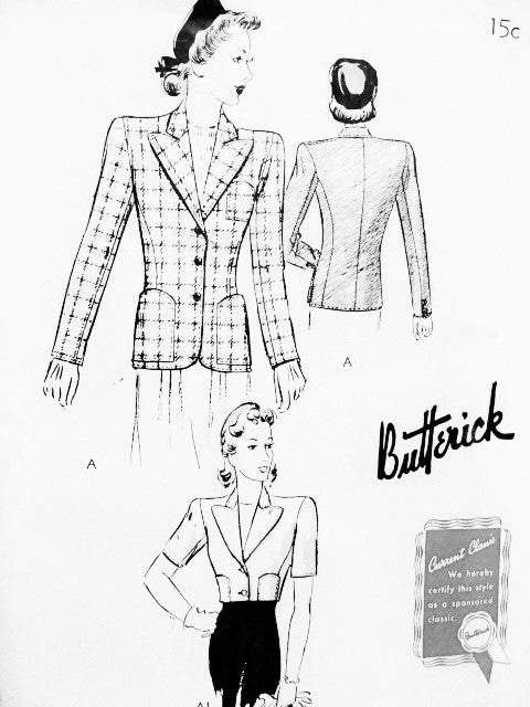 1940s CLASSY Jacket Blazer Pattern BUTTERICK 9313 Beautiful Design in 2 Lengths Day or Evening Bust 30 Vintage Forties Sewing Pattern FACTORY FOLDED