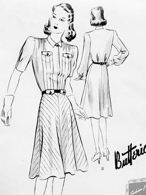 1940s STYLISH Frock Dress Pattern BUTTERICK 9327 Flattering Bias or Straight Cut Skirt WW II Dress Bust 40 Vintage Forties Sewing Pattern Factory Folded