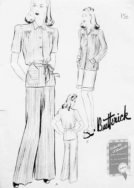 1940s Film Noir SleepWear Pajamas Lounging Pants and Overblouse Pattern BUTTERICK 9355 Long Pants or Short Bust38 Vintage Forties Sewing Pattern FF