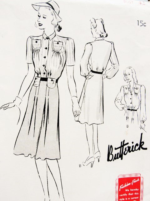 CUTE 40s Frock Dress Pattern BUTTERICK 9361 Stylish Details Bust 42 Vintage Forties Sewing Pattern FF
