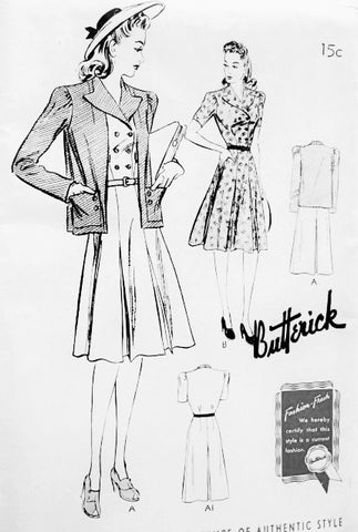 1940s FAB Dress Frock and Jacket Pattern BUTTERICK 9365 Lovely Double Breasted WW II Dress and Loose Jacket Bust 44 Vintage Forties Sewing Pattern FACTORY FOLDED
