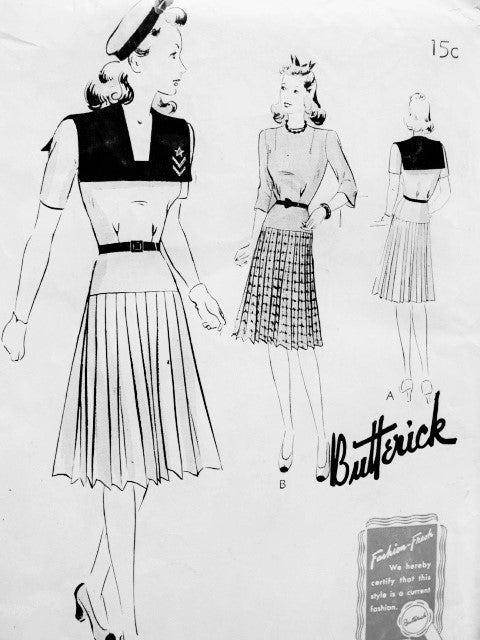 CUTE 1940s FROCK Dress Pattern BUTTERICK 9385 Large Sailor Collar Pleated Skirt 2 Styles Bust 30 Vintage Forties Sewing Pattern FACTORY FOLDED