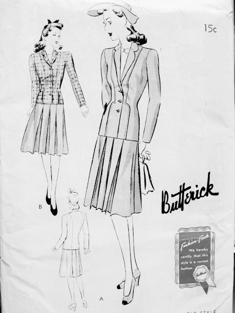 1940s Two Pc SUIT Pattern BUTTERICK 9397 Jacket in 2 Lengths Skirt Pleated Front and Back Bust 34 Vintage Forties Sewing Pattern FACTORY FOLDED