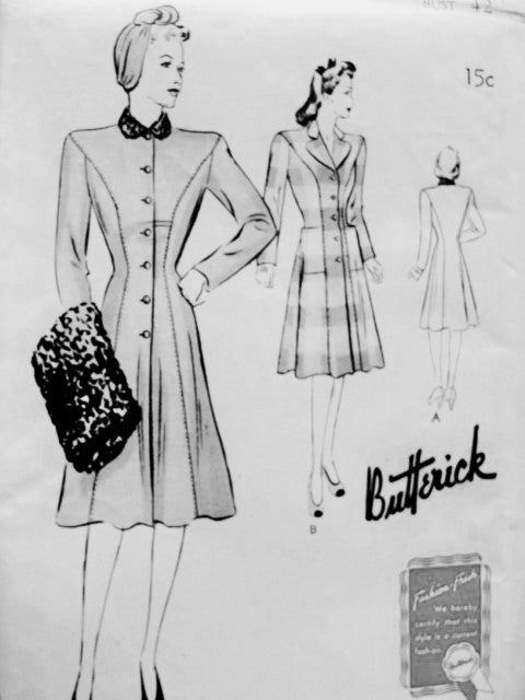 1940s Princess Coat Pattern BUTTERICK 9398 Figure Flattering Design Bust 42 Vintage Forties Sewing Pattern UNCUT