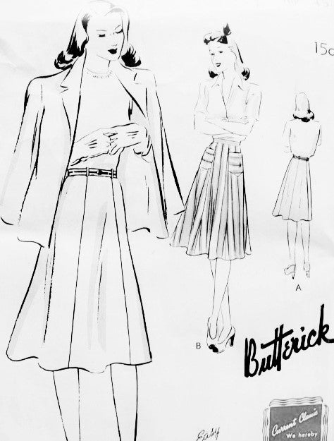 1940s Skirt Pattern Quick n Easy BUTTERICK 9402 Six Gored Skirt Figure Flattering Waist 32 Vintage Forties Sewing Pattern FACTORY FOLDED