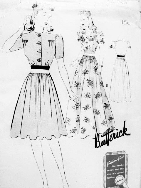 BEAUTIFUL Day or Evening Frock Dress pattern BUTTERICK 9411 Two Styles Bust 36 Vintage Forties Sewing Pattern FF