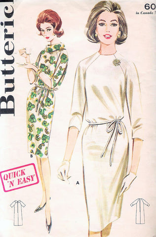 60s Butterick 2907 Vintage Sewing Pattern Quick n Easy Shift Dress Cowl Collar Raglan Sleeve Shift Dress Bust 32 Vintage Sewing Pattern FACTORY FOLDED