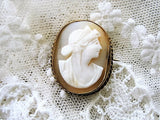 BEAUTIFUL Antique Cameo Brooch Classical Beauty Romantic Authentic Hand Carved Shell Cameo Pin Fine Victorian Jewelry