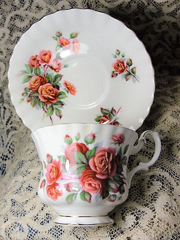 STUNNING Vintage Teacup and Saucer Royal Albert English Bone China Lush Roses CENTENNIAL ROSE Vintage Cup and Saucer Tea Time Cups and Saucers Bridal Gifts House Warming Gift