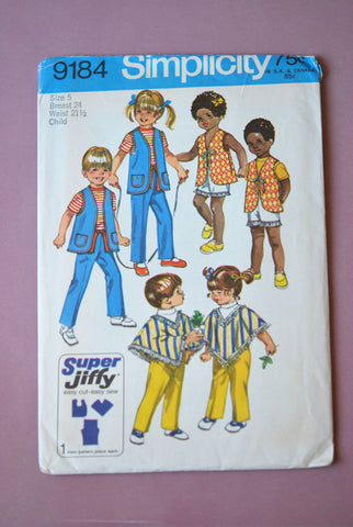 1970s Childrens Sewing Pattern Simplicity Jiffy 9184 Boys girls Vest, Poncho and Pants Size 5 Chest 24