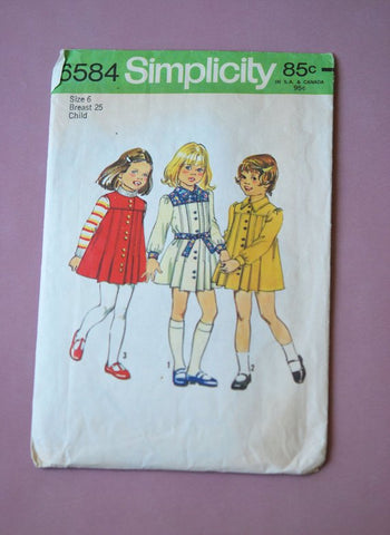 1970s Vintage Simplicity Girl's Jumper Dress Sewing Pattern 6584 Size 6 Chest 25