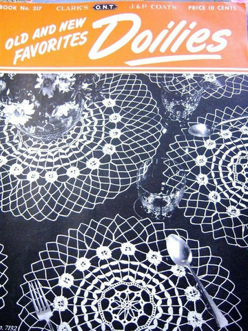 1940s CHARMING Vintage Crochet Booklet Coats Clark No. 217 Old New Favorites Doilies Crochet Patterns Doilies,Place Mats etc