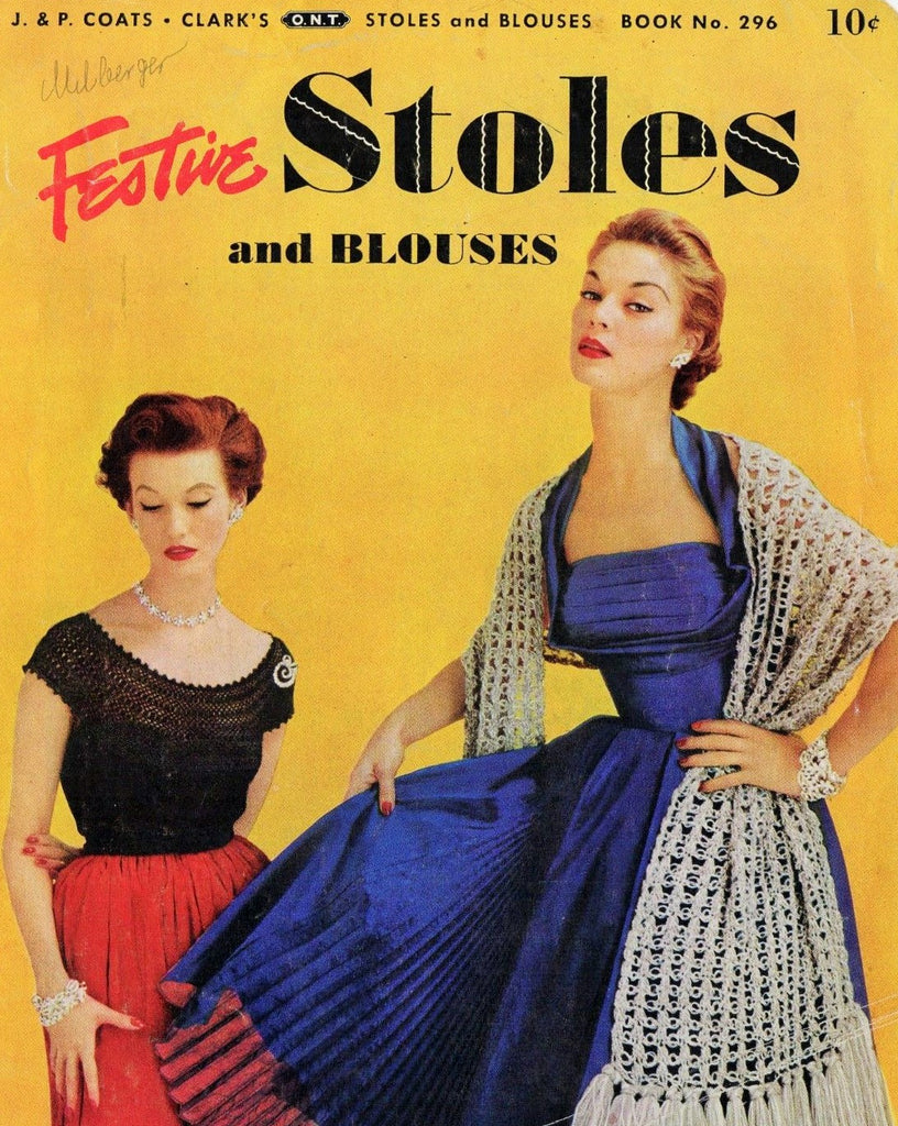 1950s LOVELY Festive Stoles and Blouses Crochet Patterns Coats & Clark's Book No. 296