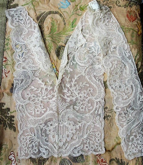20s Antique DECO French Tulle Net Lace TAMBOR Embroidered Collar Dickey Applique Flapper Downton Abbey Bridal Vintage Clothing Never Used