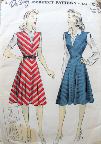 1940s Jumper Dress and Blouse Pattern Du Barry 5260 V Neckline Jumper,Blouse with 2 Versions, Bust 34 WW II Era Vintage Sewing Pattern