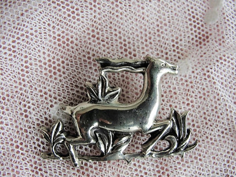 LOVELY Art Deco Sterling Silver Brooch Running Antelope Gazelle Vintage Signed CORO Pin Collectible Vintage Silver Jewelry