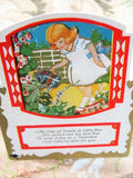 ADORABLE Original Valentine Greeting Card Girl Garden Vintage Valentines Day Greeting Card Collectible Valentines