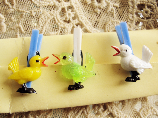 1950s RETRO Vintage Barware Glass Drinks Cocktails Markers or Napkin Holders Whimsical Birds Set of 6 Made In Western Germany