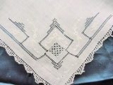Beautiful Vintage Lace Hankie BRIDAL WEDDING HANDKERCHIEF Hanky Fancy Lace lovely Hand Embroidery Openwork Perfect Bride to Be Present