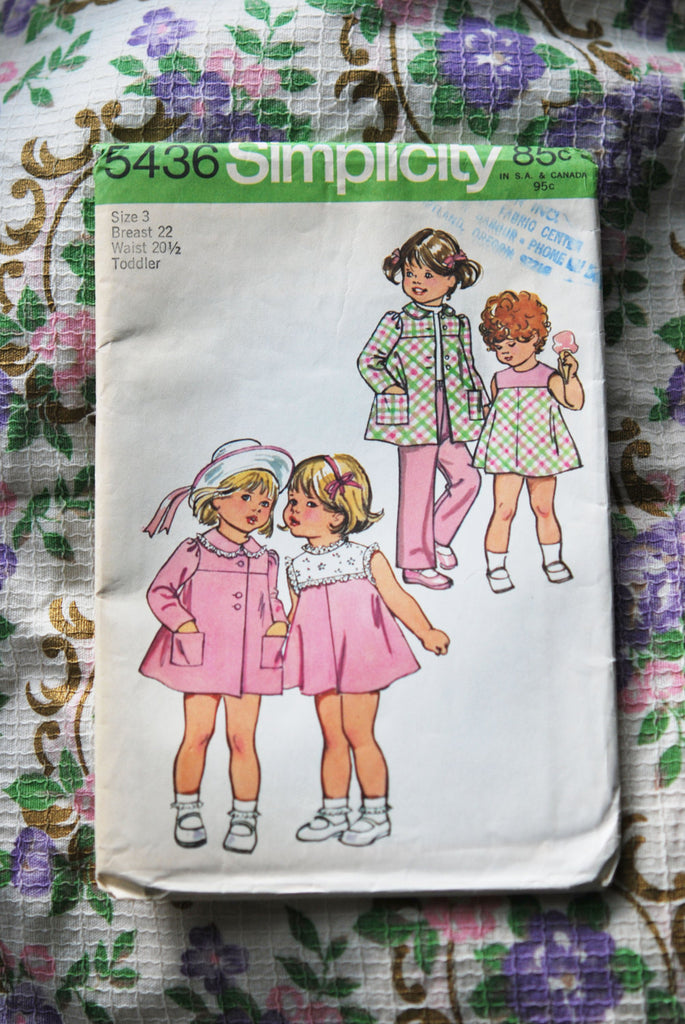 1970s RETRO Toddler's Pants, Bias Dress and Coat vintage Simplicity 5436 sewing pattern