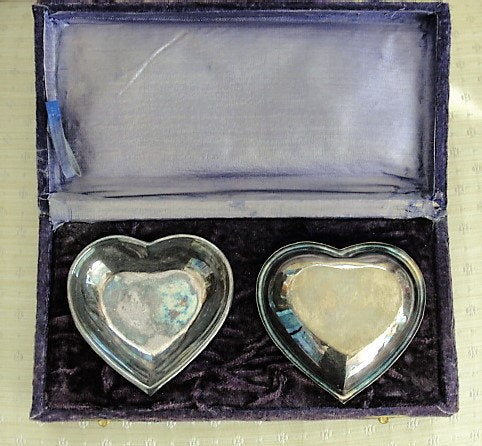 1940s LOVELY Pair of Silver HEART Dishes in Original Purple Velvet Presentation Box Perfect VALENTINE Present