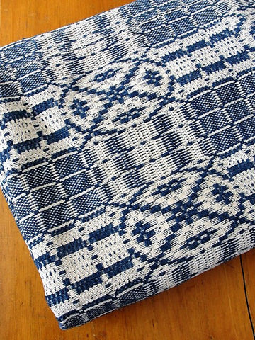 ANTIQUE Woven Coverlet Blue Cream Outstanding Condition French Country Decor,Log Cabin, Farm House Americana Decor Hand Made Antique Textile Decorative