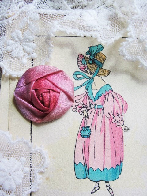AUTHENTIC Antique French Ribbonwork  Rose Bud  Rosette Ribbon Flower 1920s Flapper Era Floral Gorgeous Pink Rose Color Perfect For Dolls