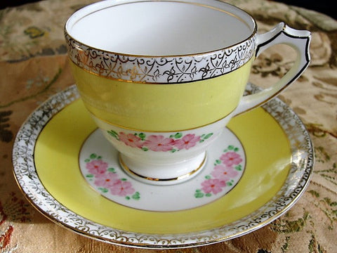 1930s VINTAGE Art Deco Teacup and Saucer Sweet Hand Painted  Pink Flowers Sunny Yellow Royal Mayfair English Bone China Tea Cup and Saucer