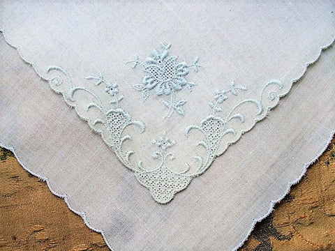BEAUTIFUL Appenzell Baby Blue Embroidery Hankie Handkerchief Fine Embroidery Work Wedding Bridal Bridesmaid Special Hanky Something Blue