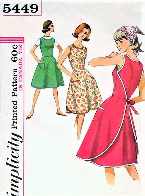 60s EASY To Make Wrap Around Dress Pattern SIMPLICITY 5449 Cute Style Bust 32 Farmhouse Apron Dress Vintage Sewing Pattern Factory Folded