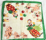 ADORABLE Vintage Hanky Childrens Handkerchief Circus Theme Elephants Kittens Seals Bear Rabbits Clown Printed Colorful Hankie Great To Frame