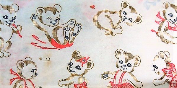ADORABLE Vintage Vogart Textile Prints 32 Teddy Bears Iron on Embroidery Transfers Two Complete Sheets NEVER Used UNCUT Craft Pattern